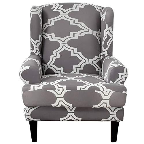 SHANNA Sesselbezug, Stretch Sofabezug Elastischer Sofaüberwurf 2 Stücke Ohrensessel Bezug Weiches Elasthan - Argyle Grau