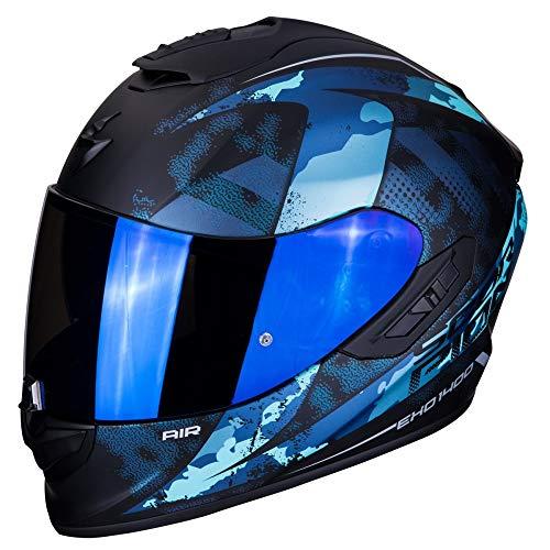 Scorpion - Casco integral EXO-1400 sylex negro mate azul de fibra de vidrio para scooter moto con visera interna SpeedView solar retráctil, protección calota exterior TCT (XL)