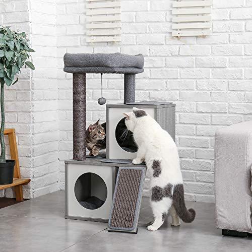 Eono by Amazon Moderne Holz Kratzbaum Katzenbaum Sisal Katzenkratzbäume Kätzchen Möbel mit Katzenhöhle Spielhaus Katzenspielzeug Grau Höhe 34″ - 6