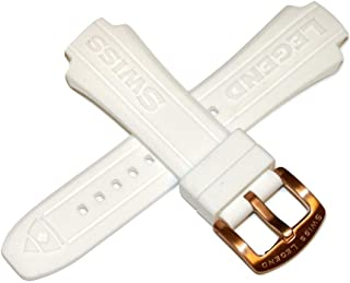 Swiss Legend 17MM White Silicone Rubber Watch Strap & Rose Gold Stainless Buckle fits 40mm Neptune Watch