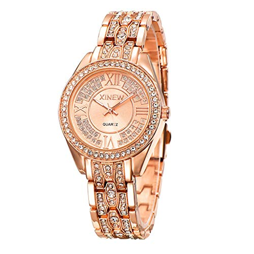 GLEMFOX mode dames kwartshorloge roestvrij stalen armband ultradun dameshorloge klassiek casual meisje klok met strass rond wijzerblad armband goud