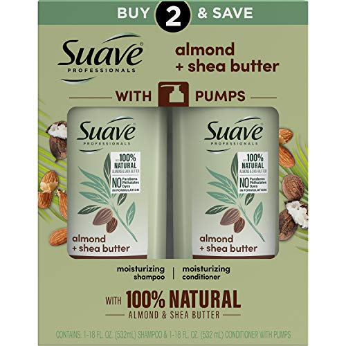 Suave Professionals Moisturizing Shampoo and Conditioner for Dry Hair Almond and Shea Butter Paraben-free and Dye-free 28 oz 2 Count
