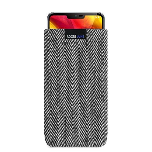 Adore June Business Tasche für LG G7 ThinQ & LG G7 One Handytasche aus charakteristischem Fischgrat Stoff - Grau/Schwarz | Schutztasche Zubehör mit Bildschirm Reinigungs-Effekt | Made in Europe