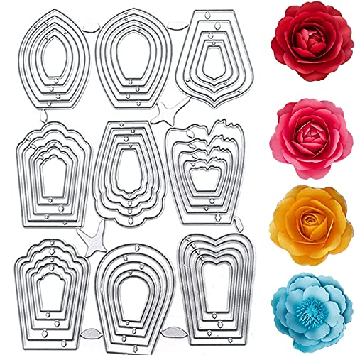 Set di 9 fustelle per realizzare biglietti, decorazioni tridimensionali con fiori, in metallo, per decorare biglietti, scrapbooking, album fotografici, decorazioni…