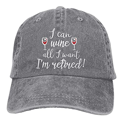N  A I Can Wine All I Want Im Retired - Gorra de béisbol ajustable, unisex, color azul