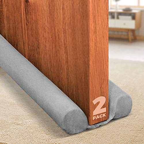 Holikme 2 Pack Twin Door Draft Stopper Weather Stripping Noise Blocker Window Breeze Blocker Adjustable Door Sweeps 34inch Grey