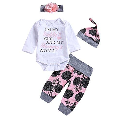 Borlai 4PCS Säugling Baby-Blumen Outfits eingestellt Strampler + Hose + Hut + Blumen Stirnband