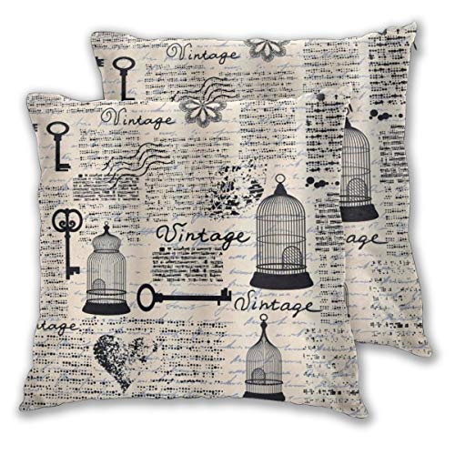 DECISAIYA Cushion Covers Pack of 2,Old Newspaper Grunge Retro Pattern With Bird Cages Keys Heart Shapes And Flower,Decorative Square Throw Pillow Cover for Sofa,Bedroom,Home&Hotel 24x24
