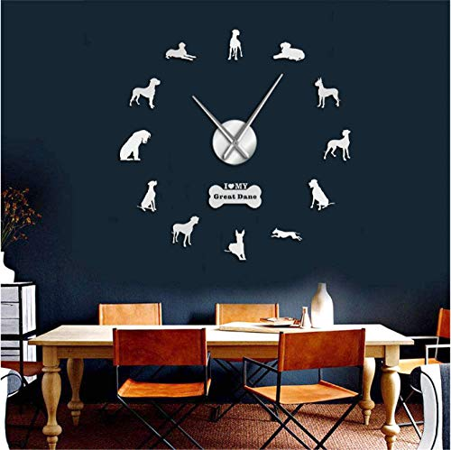 mazhant Chien Allemand Race Mur Art Décor À La Maison Great Dane Bricolage Grande 3D Horloge Murale Salon Décoratif Quiet Wall Watch 37Inch