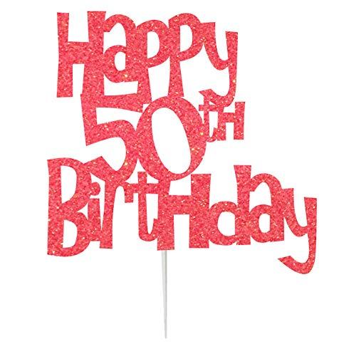 Karen's Cake Toppers Décoration pour gâteau d'anniversaire 50 ans Fabriqué au Royaume-Uni Rose clair
