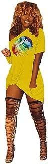 Women's Short Sleeve T-Shirt Dress Off Shoulder Casual Lip Printed Midi Dresses