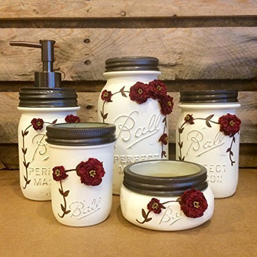 Amazon Com 5 Piece Ivory And Burgundy Vintage Mason Jar Vanity Set