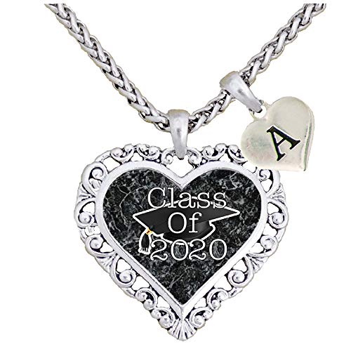 Holly Road Graduation Hat Class of 2020 Silver Heart Necklace Pendant Jewelry Senior Gift Choose Initial (Custom)