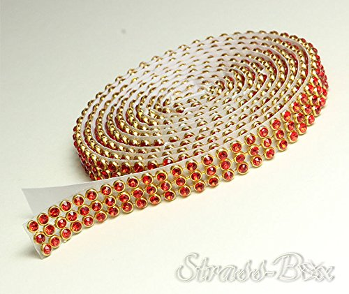 SIAM/or Mesh bande de strass SS8 autocollant Largeur au choix, 1,15 m long strass rouge/or, 3 reihig / 10 mm x ca.1150 mm