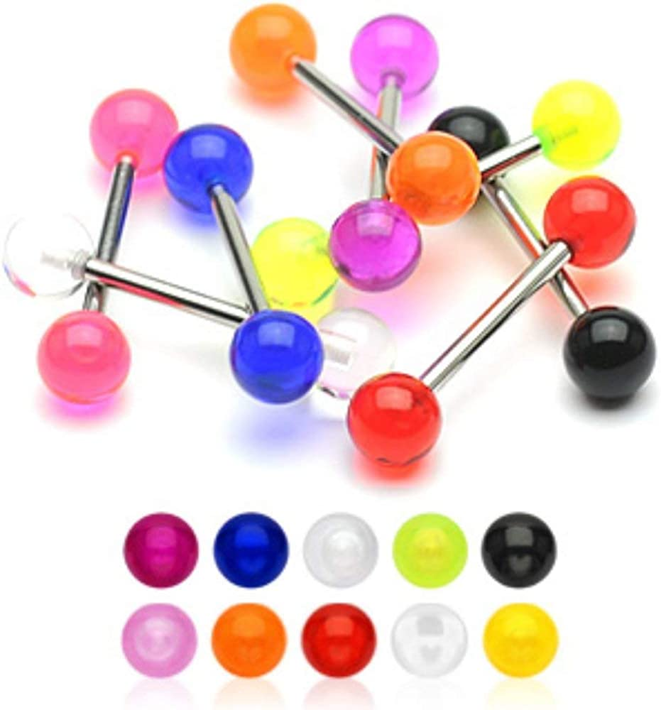 Covet Jewelry 14G, 316L Barbell w/Acrylic Ball