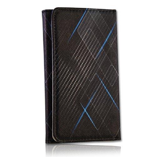 Handy Tasche Fliptasche Flip Book Etui Hülle Case Kunstleder schwarz / blau - Carbon Design book7-5 für Nokia Lumia 900 / Huawei Ascend D quad / Huawei Ascend D quad XL / Sony Xperia Ion / Huawei U9200 Ascend P1 / Samsung Galaxy S2 i9210 LTE / Samsung Galaxy Nexus / Base Lutea 2 - 4