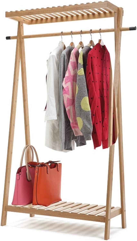 Angel's Home European Simple Coat Rack Floor Hanger Creative Bedroom Clothes Rack Bamboo Bamboo color Floor Hanger