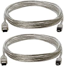 10-Foot IEEE-1394 6-Pin to 4-Pin FireWire 400/400 Cable Clear - Pack of Two