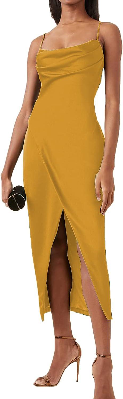 LINGLINGDING Women's Elegant Sleeveless Split Hem Satin Party Cocktail Midi Dress