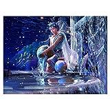 MoGist Doce Constelaciones de Bricolaje Pintura Diamante Completo Sala de Estar decoración de la Pared Pintura, 40x55 cm, Acuario, 40x55 cm, Diamante de Resina, Acuario