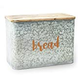 AVV Galvanized Bread Box for Kitchen Countertop Metal Farmhouse Loaf of Bread Storage Container Large Vintage Bin Retro Rustic Counter Homemade