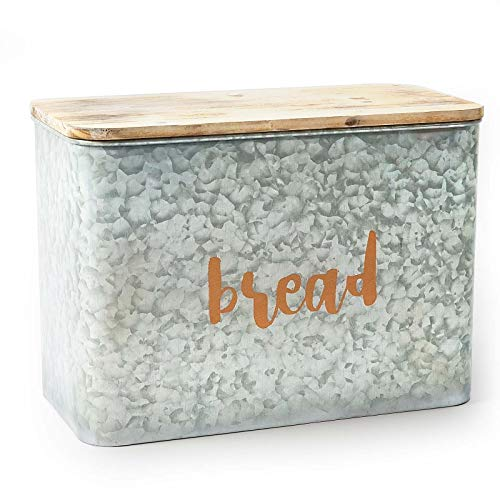 AVV Galvanized Bread Box for Kitchen Countertop Metal Farmhouse Loaf of Bread Storage Container Large Vintage Bin Retro Rustic Counter Homemade