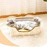 Cama Gato Suave, Mascotas Cojín Calentito Gato Dormido Cama con Suave Cojín Desmontable, Alfombra Cama Suave y Cómoda para Gatos Perros Pequeños (Blanco)