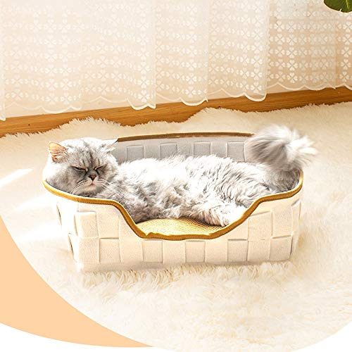 Letto per gatti con Cuscini, Cuccia per Gatti Cestino per Gatti Cuccia per Gatti Cuscino per Gatti Nido Riposo per Gatti Letto Morbido Confortevole per Animali Domestici Gatti Gatto (Bianca)