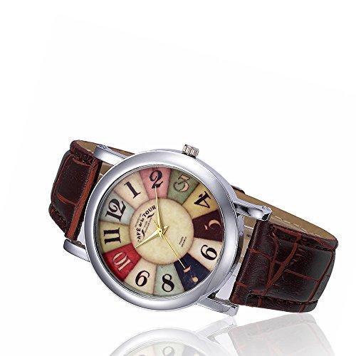 Darringls_Reloj,Relojes Reloj de Moda Reloj Deportivo analógica de Banda de Cuero de diseño Retro Reloj de Pulsera de Cuarzo de aleación