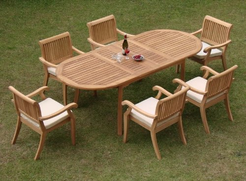 "Big Sale Best Cheap Deals New 7 Pc Luxurious Grade-A Teak Dining Set - 94"" Oval Table and 6 Stacking Arbor Arm Chairs"