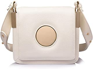 Yellow/black/white Leather Handbags European And American Fashion Trend Small Square Bag Force Branch Pattern Ring Shoulder Diagonal Female Bag 18 * 6 * 19 (cm). jszzz (Color : White)
