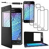 ebestStar - Funda Compatible con Samsung J1 Galaxy SM-J100F (2015) Carcasa Ventana Vista Cover Cuero PU, Funda Libro Billetera + Mini Lápiz +3 Peliculas, Negro [Aparato: 129 x 68.2 x 8.9mm, 4.3'']