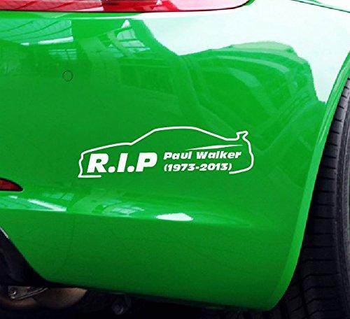 Dinger-Design Aufkleber Premium RIP Paul Walker 20x6 cm weiß
