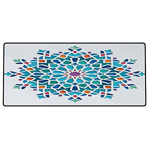 Alfombrilla de ratón para Juegos 600 x 300x3 mm,Arabian, Ilustración del Antiguo arabesco Oriental étnico Antiguo Damasco Oriental Motivo Redondo Base de Goma Antideslizante, Adecuada para Jugadores