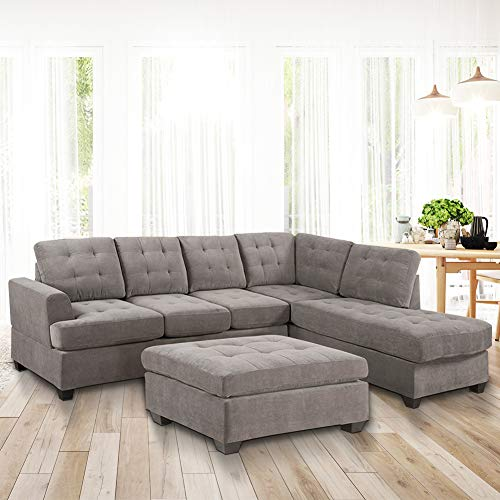 DKLGG Sectional 3-Seat Sofa Furniture Set Large Modern L Shape Sleeper Couch with Chaise Lounge and Storage Ottoman for Living Room, Light Grey