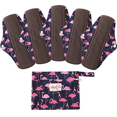 5 Stück Waschbare/Wiederverwendbare Slipeinlagen mit Holzkohle Absorbency Menstruation-Pads Waschbare Stoffbinden, Wiederverwendbare Binden,mit 1 Tragbare Mini Tasche (Klein- 20cm/8.2 inch, Flamingos)