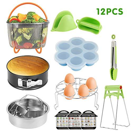 Judy1980 Gemüse Garbehälter, 12 PCS Schnellkochtopf Zubehör Set für Dampfkochtopf Dampfgarer Korb, Edelstahl