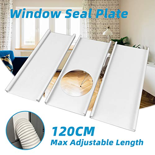 "Jeacent Window Seal Plates Kit for Portable Air Conditioners, Plastic AC Vent Kit for Sliding Glass Doors and Windows - Adjustable Length Panels for Exhaust Hose of 6"" Diameter"
