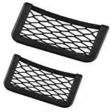 Emoly Car Storage Organizer, 2-Pack Universal Net Velcro Car String Bag Car Seat Side Storage, 7.9 x 3.2& 5.9 x 3.2'' Net Bag Mesh Pocket Organizer Stick-on for Purse Bag Phone (2020)