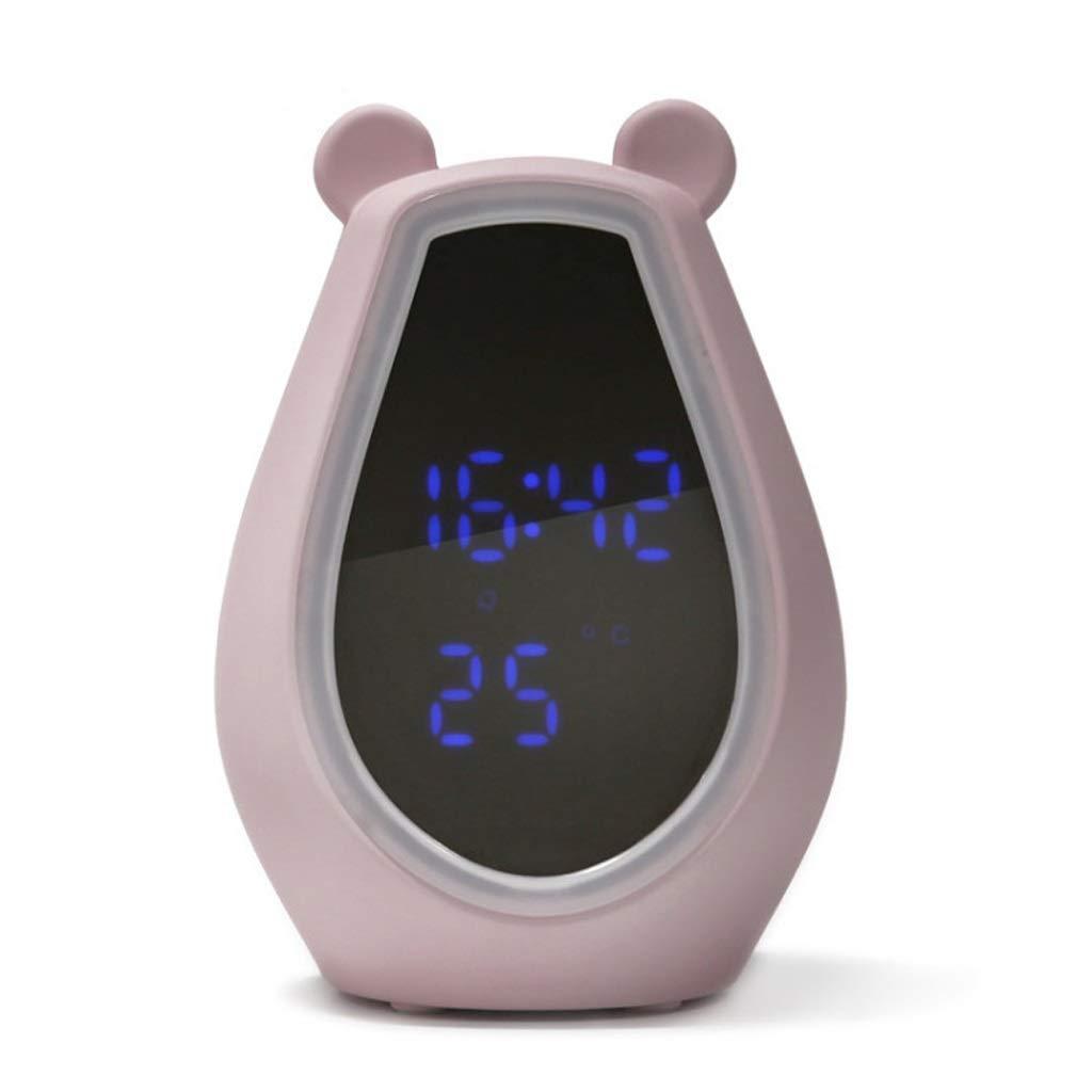 反応する救出解体する化粧鏡 - スマートミラーホワイト/ピンクのドレス夜の光の音楽の目覚まし時計を充電かわいいクマかわいいLED化粧鏡デスクトップ (色 : Pink)