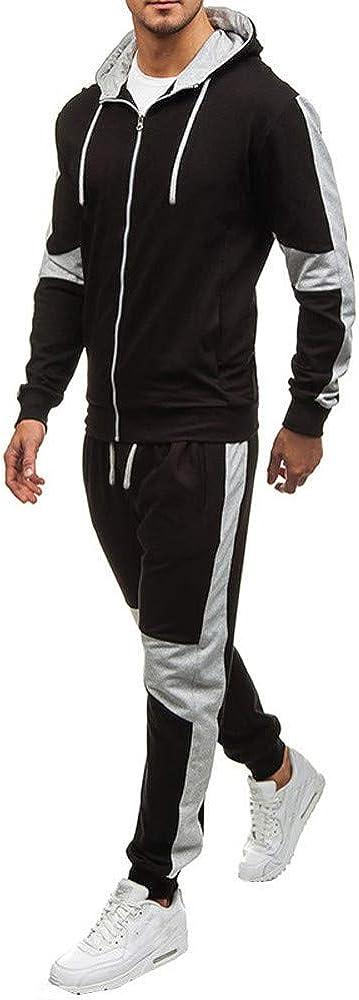 Mens Color Block Sport Suit Contrast Jogging Full Sweatsuit Zipper Hoodies Tracksuit Outfit Casual Two Piece Sets