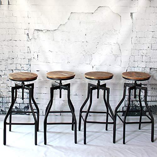 IKAYAA 4X Taburetes de Bar Sillas de Comedor Sillas de Cocina Estilo Industrial Alto Ajustable Taburetes de Madera
