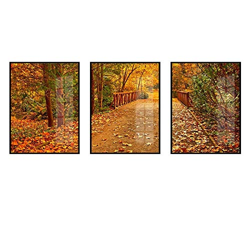 Pintura Decorativa Lienzo,Autumn Forest Wooden Bridge Theme Lienzo De 3 Piezas (Sin...