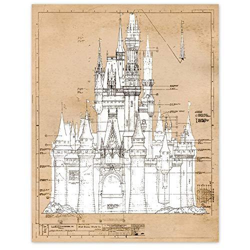 Cinderella Castle Vintage Patent Poster Prints, Set of 1 (11x14) Unframed Photo, Great Wall Art Decor Gifts Under 15 for Home, Office, Nursery, Teacher, Women, Adult, Disney Princess Decorations Fan