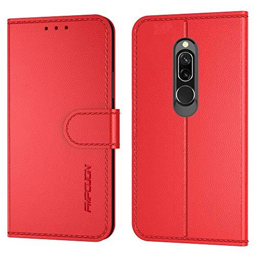 FMPCUON Handyhülle Kompatibel mit Xiaomi Redmi 8(Neueste),Premium Leder Flip Schutzhülle Tasche Hülle Brieftasche Etui Hülle für Xiaomi Redmi 8(6,22 Zoll),Rot