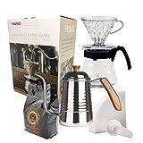 Kit Café Completo Novo Hario V60 HR-VCND-02B-EX 700ml Chaleira FPRO INOX Café Gourmet 250g e Filtro Hario 02 40 Uni