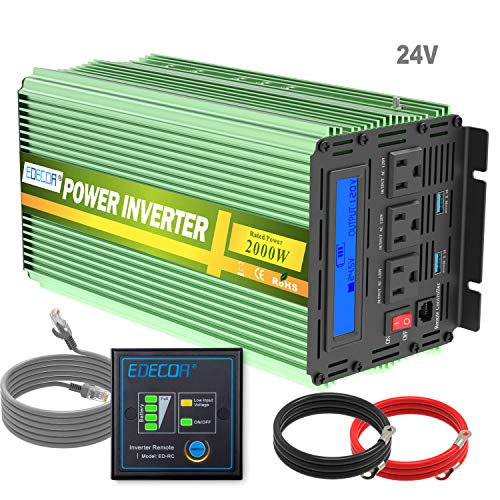 Edeoca 2000W 24V Power Inverter DC 24V to 110V AC Power Converter LCD and Remote Controller 4.2A Dual USB Ports