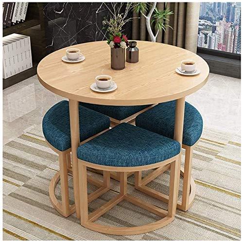 FWJT Mesa de comedor y silla de comedor y silla Set de mesa de sala de estar y silla Nórdico Simple Simple Mesa de comedor redonda Casa Sala de estar Estudio Dormitorio Dormitorio 1 Tabla 4 Sillas Mes