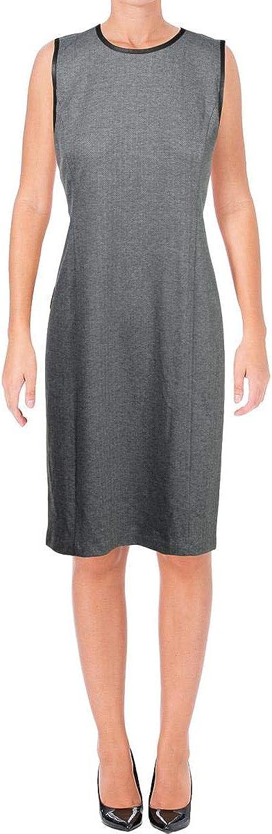 Ralph Lauren Womens Herringbone Sheath Dress, Grey, Large