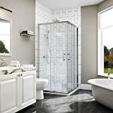 ELEGANT 760 x 760mm Square Corner Entry Shower Enclosure with Sliding Reversible Shower Door for Bathroom Enclosure Cubicle